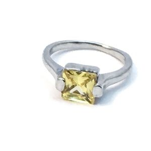 Square Cut Yellow Faux Citrine Silver Ring